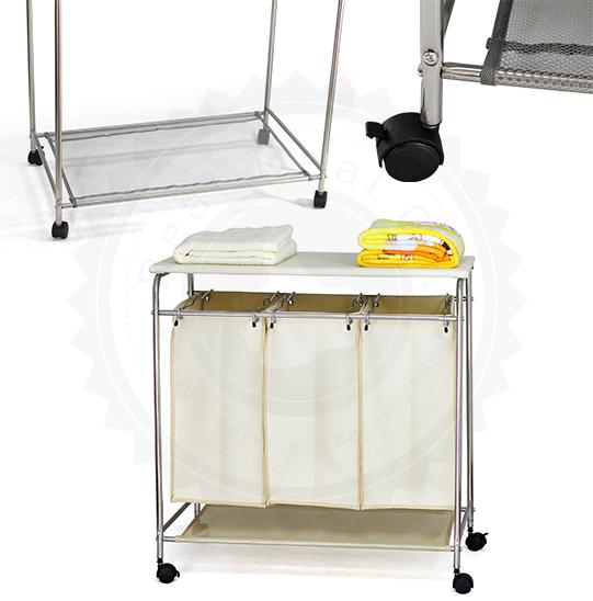 triple laundry hamper w ironing board sort iron clothes same time cream grey ebay. Black Bedroom Furniture Sets. Home Design Ideas