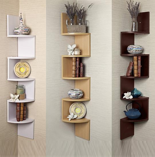 Contemporary Wall Shelves Decorative: Zig Zag MDF Wood Floating Corner Wall Shelf Unit Modern