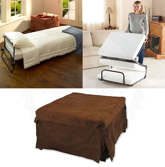size 40 0f458 b32d1 Details about OTTOMAN FOLDING BED Convertible Portable Inverted Pleat Slip  Cover & Casters